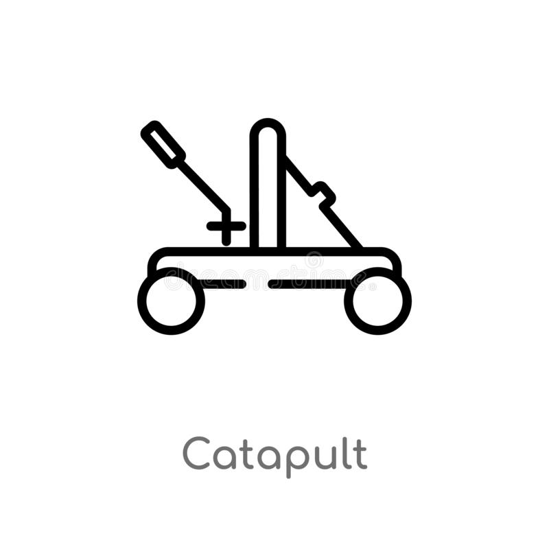 icono del vector de la catapulta del esquema l?nea simple negra aislada ejemplo del elemento del concepto diverso Movimiento Edit stock de ilustración