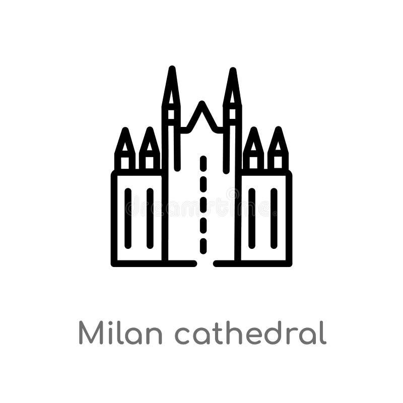 icono del vector de la catedral de Milano del esquema l?nea simple negra aislada ejemplo del elemento del concepto de los monumen stock de ilustración