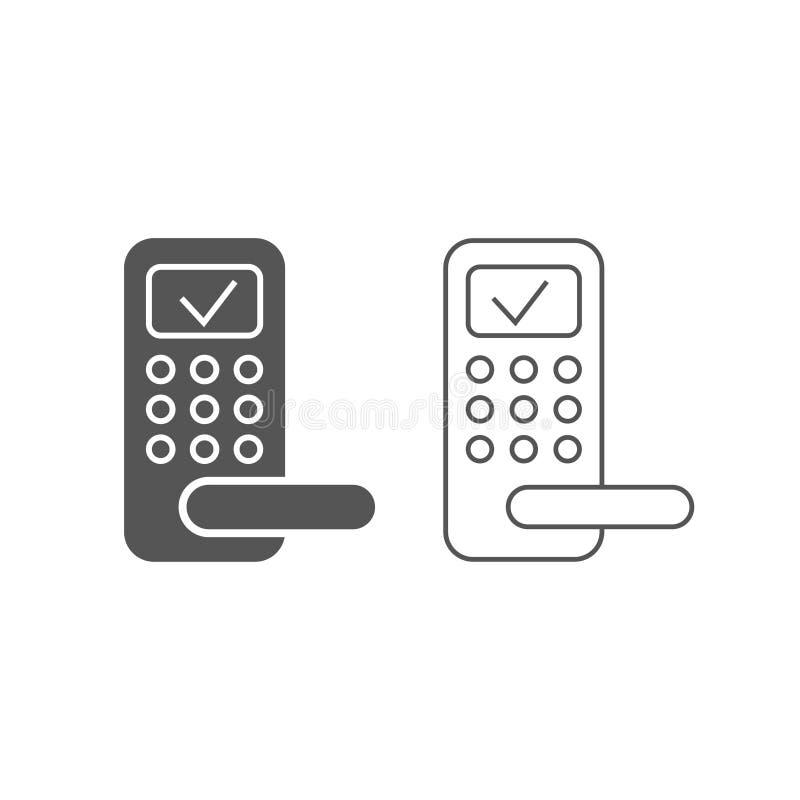 Icono del vector de la cerradura de puerta, sistema elegante de la cerradura Plano y línea modernos, simples ejemplos del vector  stock de ilustración