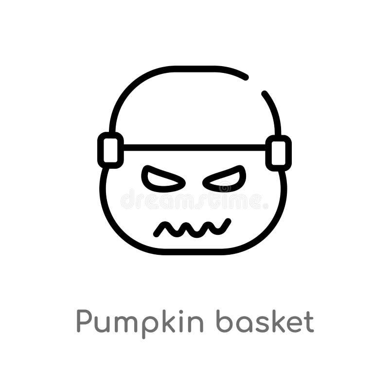 icono del vector de la cesta de la calabaza del esquema l?nea simple negra aislada ejemplo del elemento del concepto de Halloween stock de ilustración