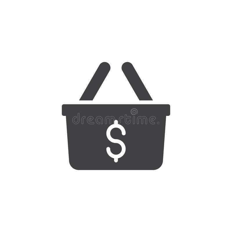 Icono del vector de la cesta de compras del dólar ilustración del vector