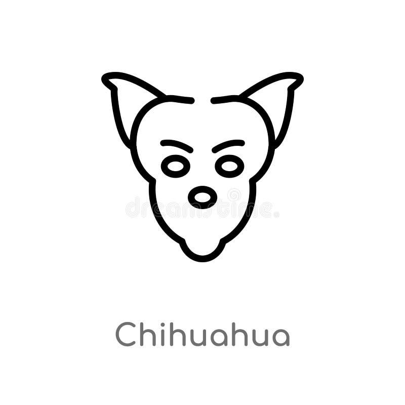 icono del vector de la chihuahua del esquema l?nea simple negra aislada ejemplo del elemento del concepto de los animales Movimie libre illustration