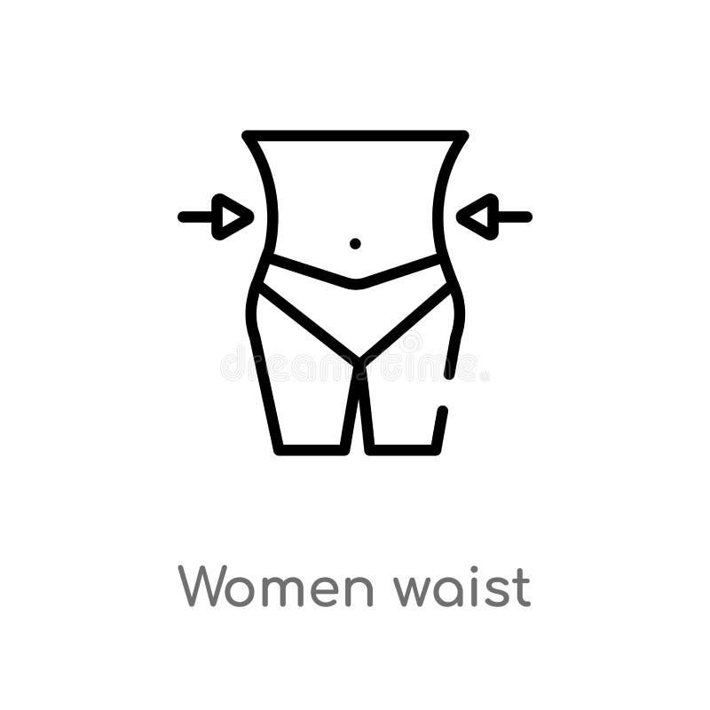icono del vector de la cintura de las mujeres del esquema línea simple negra aislada ejemplo del elemento del concepto de la bell libre illustration