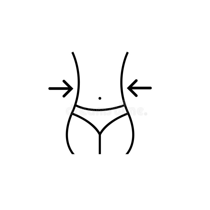 Icono del vector de la cintura de la mujer símbolo del ejemplo de la pérdida de peso, logotipo de la cintura ilustración del vector