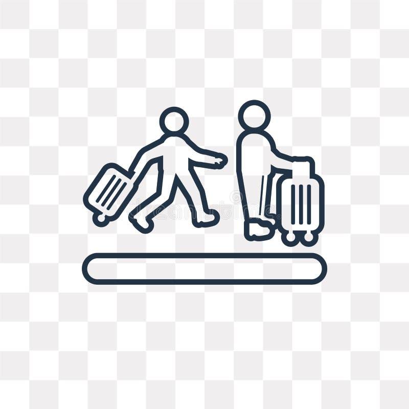 Icono del vector de la cola del aeropuerto aislado en el fondo transparente, li libre illustration
