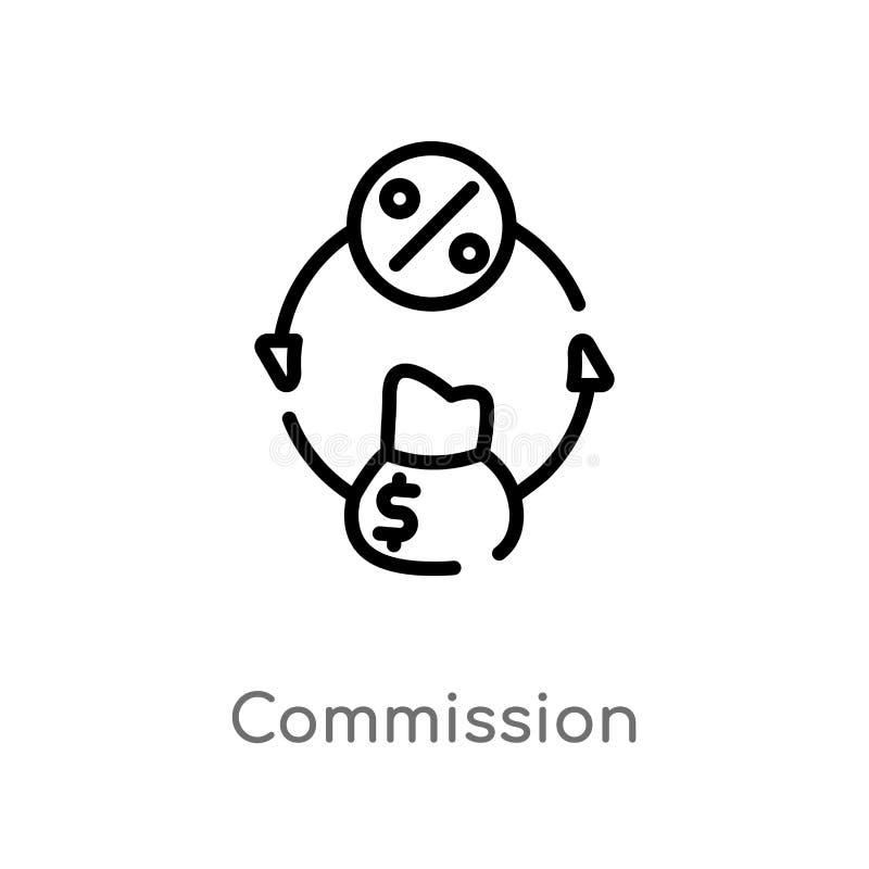 icono del vector de la comisión del esquema línea simple negra aislada ejemplo del elemento del concepto de comercialización Movi ilustración del vector