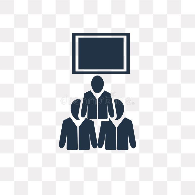 Icono del vector de la conferencia de tres hombres aislado en backgro transparente ilustración del vector
