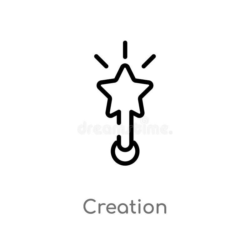 icono del vector de la creación del esquema línea simple negra aislada ejemplo del elemento del concepto del arte y de diseño Mov ilustración del vector