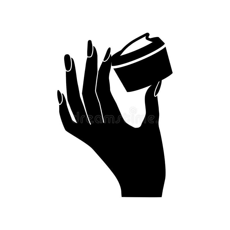 Icono del vector de la crema de cara del control de la mano del ` s de la mujer libre illustration