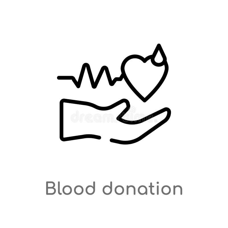 icono del vector de la donaci?n de sangre del esquema l?nea simple negra aislada ejemplo del elemento del concepto de la caridad  ilustración del vector