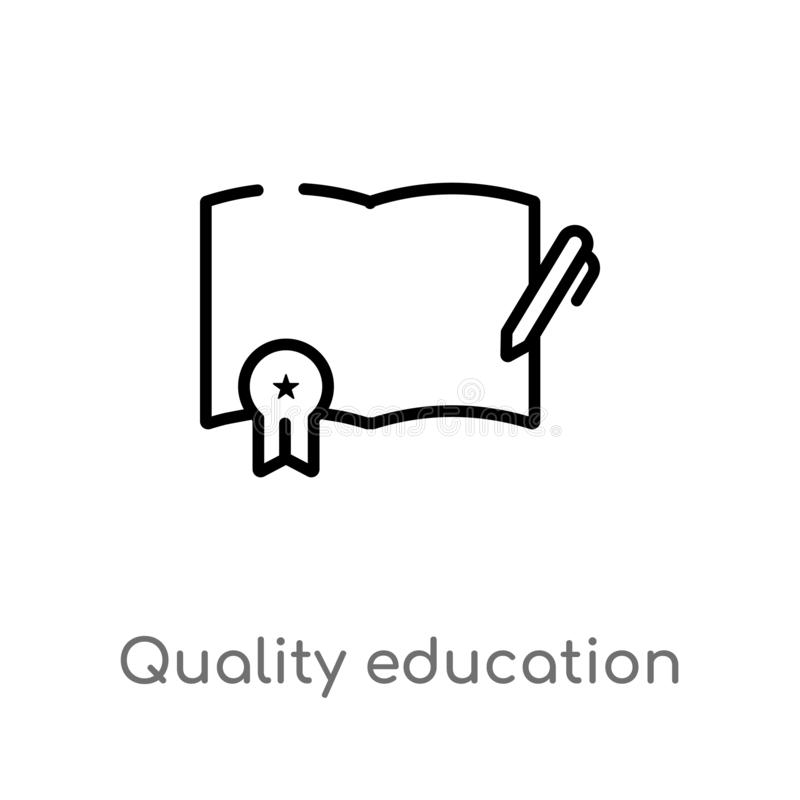 icono del vector de la educaci?n de la calidad del esquema l?nea simple negra aislada ejemplo del elemento del concepto de la edu libre illustration