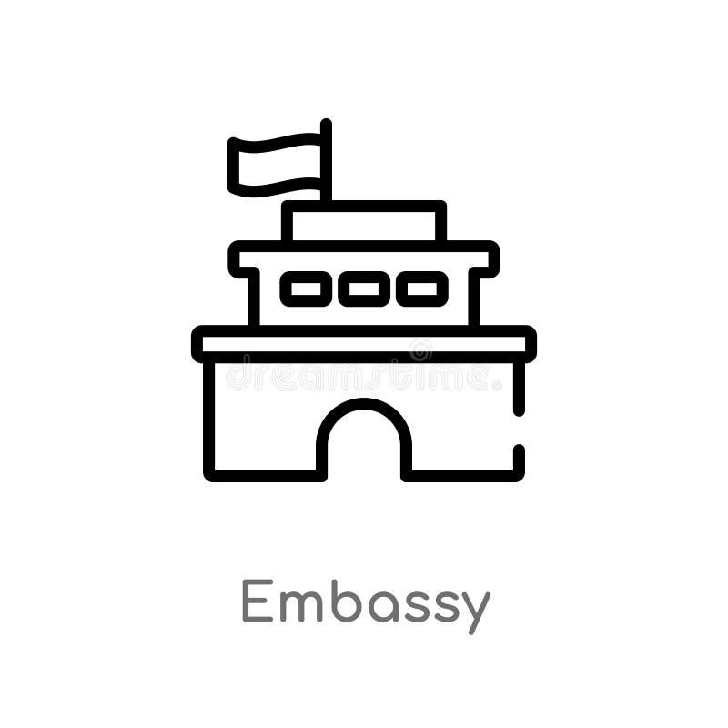 icono del vector de la embajada del esquema línea simple negra aislada ejemplo del elemento del concepto de los edificios Movimie libre illustration