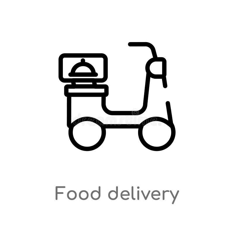 icono del vector de la entrega de la comida del esquema r Movimiento Editable del vector stock de ilustración