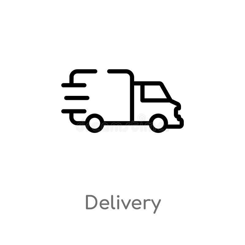 icono del vector de la entrega del esquema línea simple negra aislada ejemplo del elemento de la entrega y del concepto logístico ilustración del vector