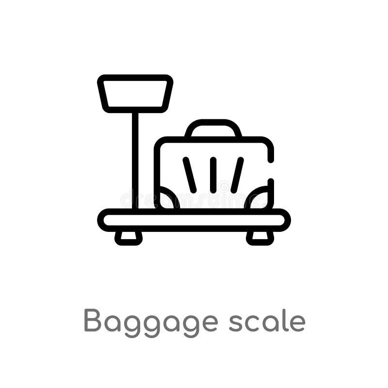 icono del vector de la escala del equipaje del esquema l?nea simple negra aislada ejemplo del elemento del concepto del terminal  stock de ilustración