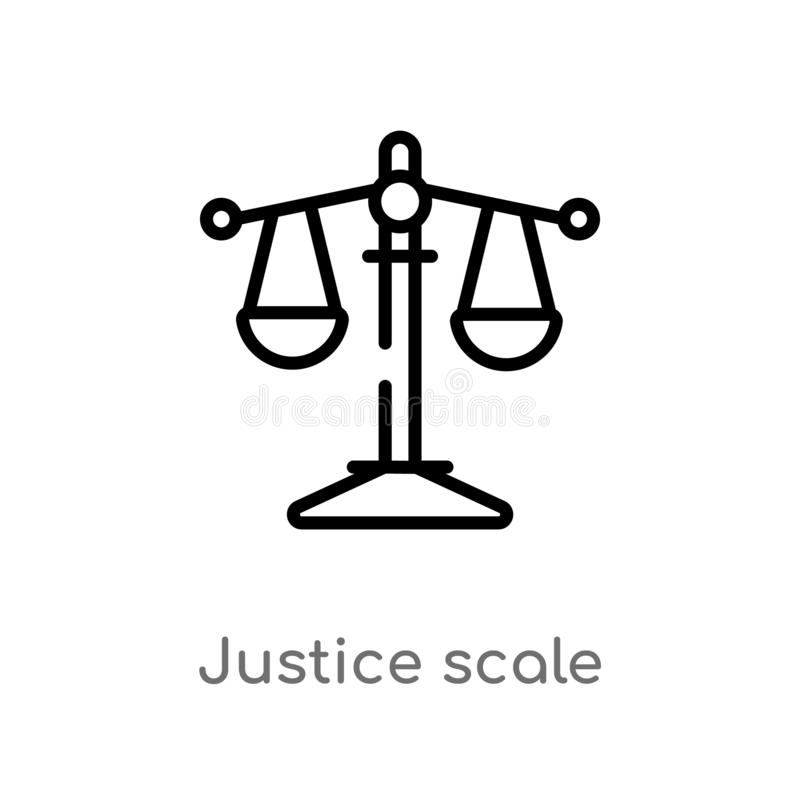 icono del vector de la escala de la justicia del esquema línea simple negra aislada ejemplo del elemento del concepto de la ley y ilustración del vector