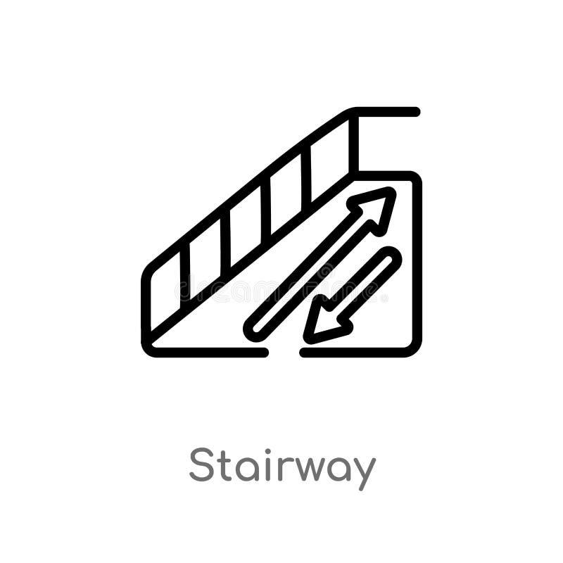 icono del vector de la escalera del esquema línea simple negra aislada ejemplo del elemento del concepto del hotel escalera edita libre illustration