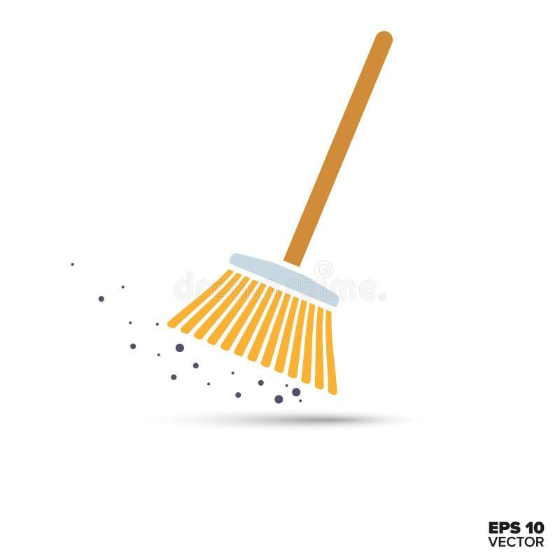 Icono del vector de la escoba stock de ilustración