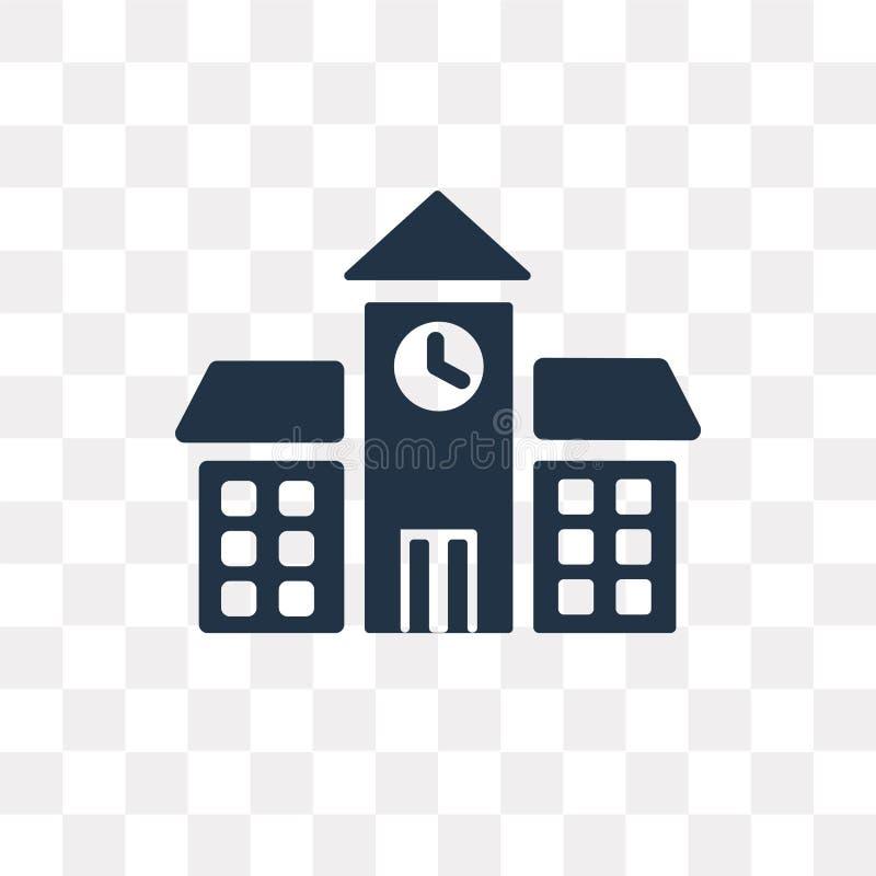 Icono del vector de la escuela aislado en el fondo transparente, escuela t ilustración del vector