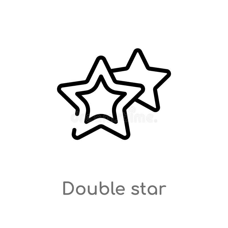Icono del vector de la estrella doble del esquema l?nea simple negra aislada ejemplo del elemento del concepto de la astronom?a M ilustración del vector