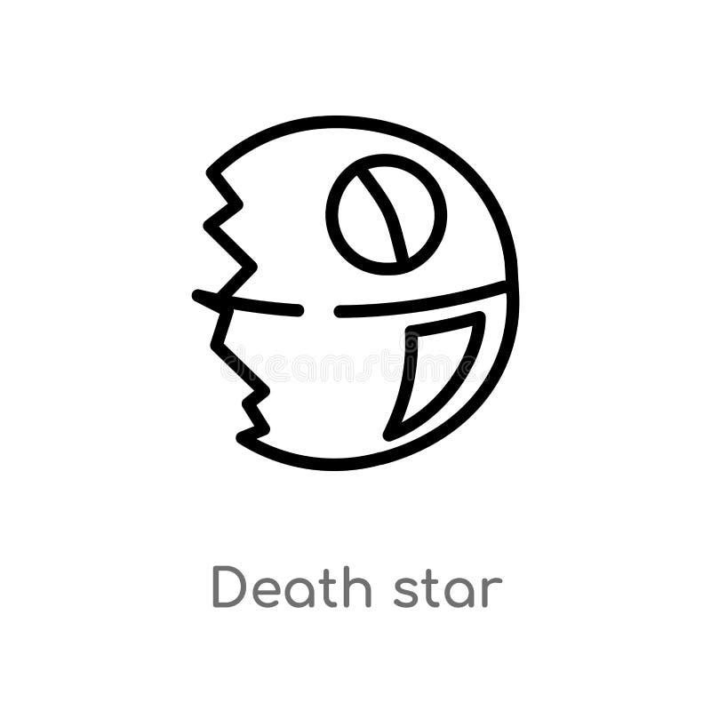 icono del vector de la estrella de la muerte del esquema l?nea simple negra aislada ejemplo del elemento del concepto de la astro ilustración del vector