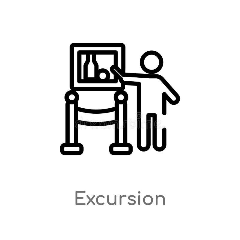 icono del vector de la excursión del esquema l?nea simple negra aislada ejemplo del elemento del concepto del museo Movimiento Ed stock de ilustración