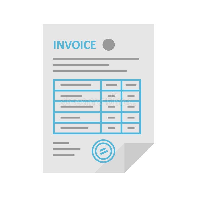 Icono del vector de la factura en el estilo plano