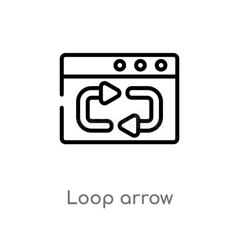 icono del vector de la flecha del lazo del esquema línea simple negra aislada ejemplo del elemento del concepto de la interfaz de ilustración del vector