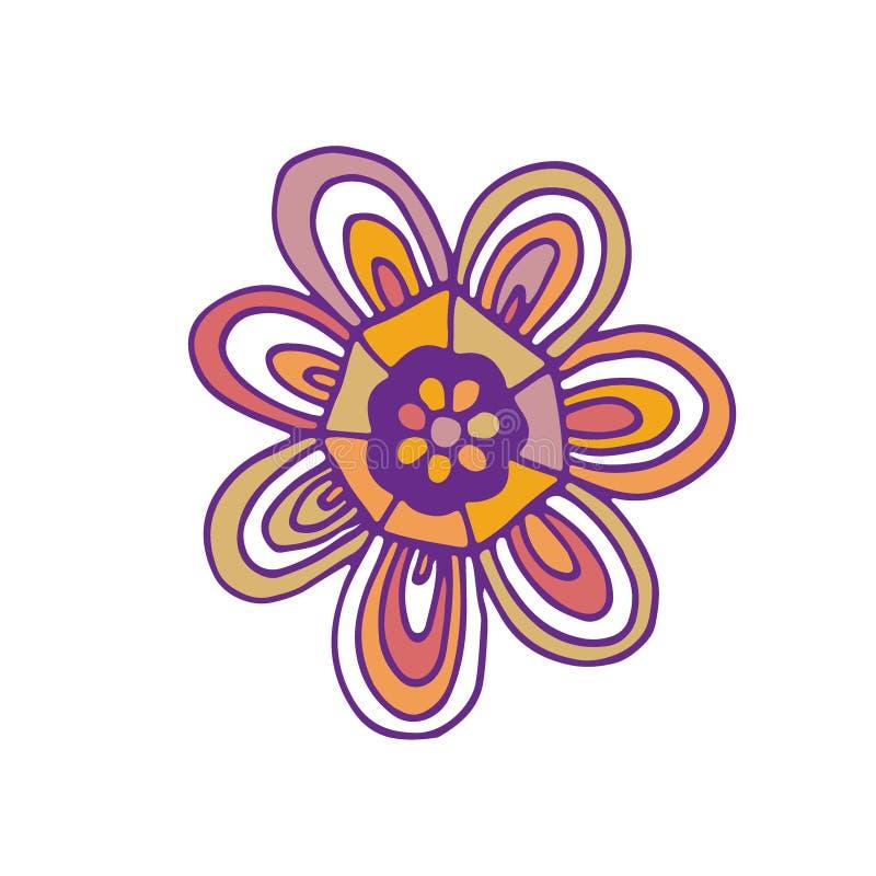 Icono del vector de la flor Diseño de la impresión de la camiseta Etiqueta engomada linda del garabato ilustración del vector