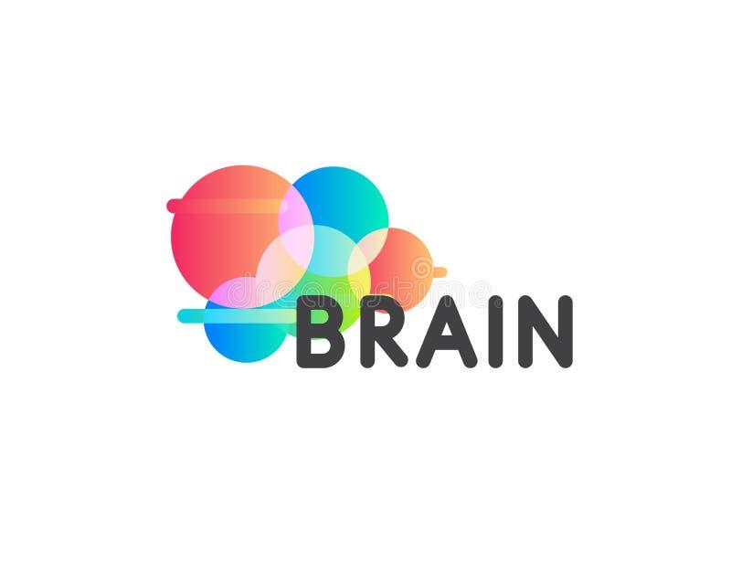 Icono del vector de la forma redonda del color Plantilla creativa del logotipo del cerebro Logotipo redondo de la tecnología de l ilustración del vector