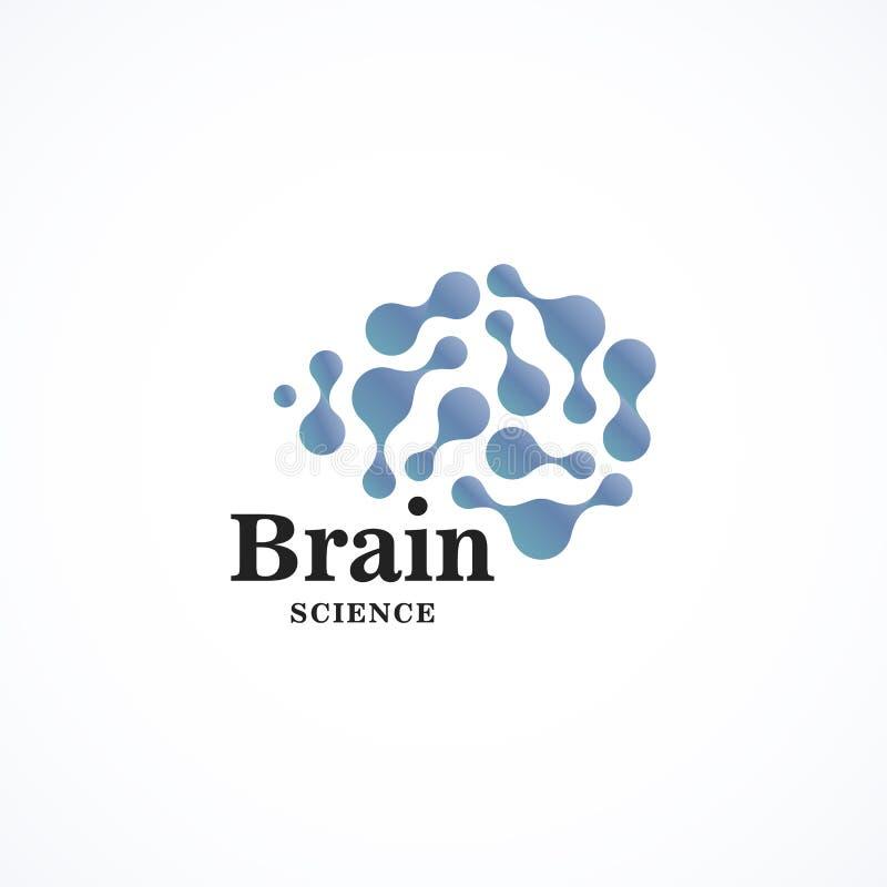 Icono del vector de la forma redonda del color Plantilla creativa del logotipo del cerebro Logotipo redondo de la tecnología de l stock de ilustración