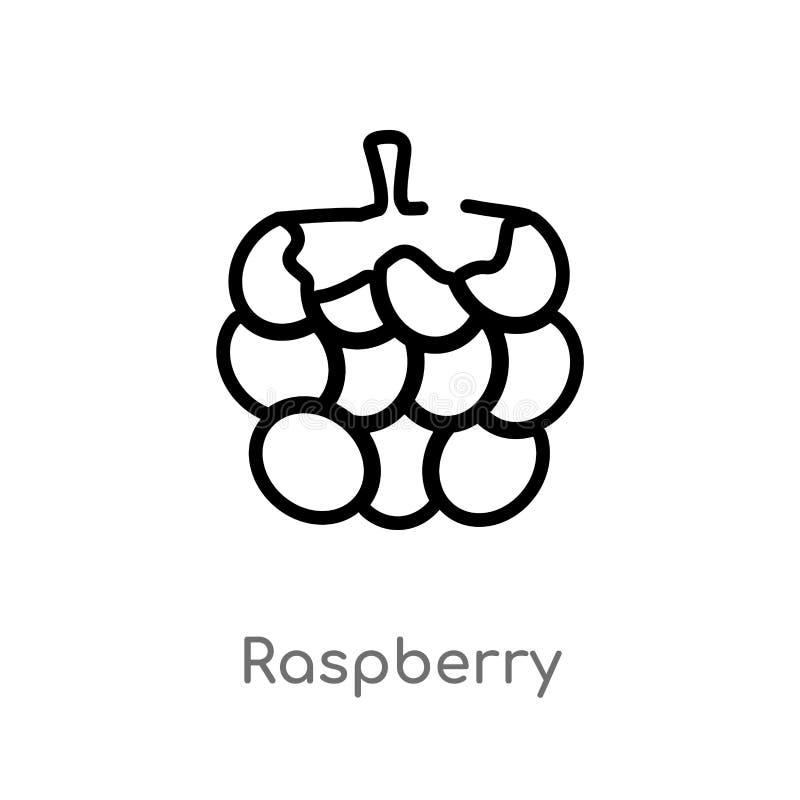 icono del vector de la frambuesa del esquema l?nea simple negra aislada ejemplo del elemento del concepto de las frutas Movimient libre illustration