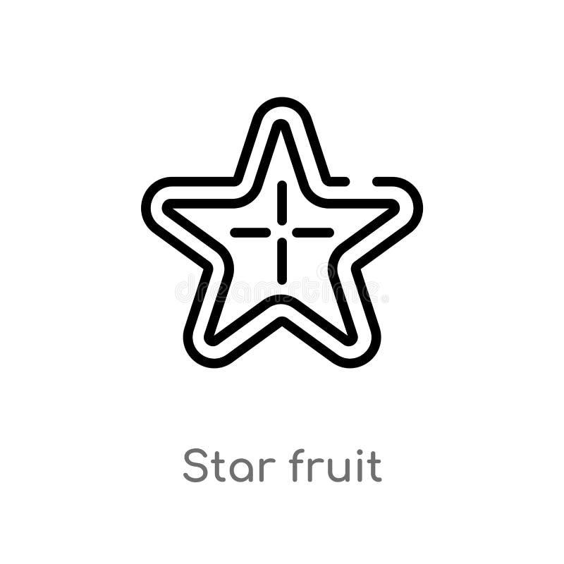 icono del vector de la fruta de estrella del esquema línea simple negra aislada ejemplo del elemento del concepto de las frutas y stock de ilustración
