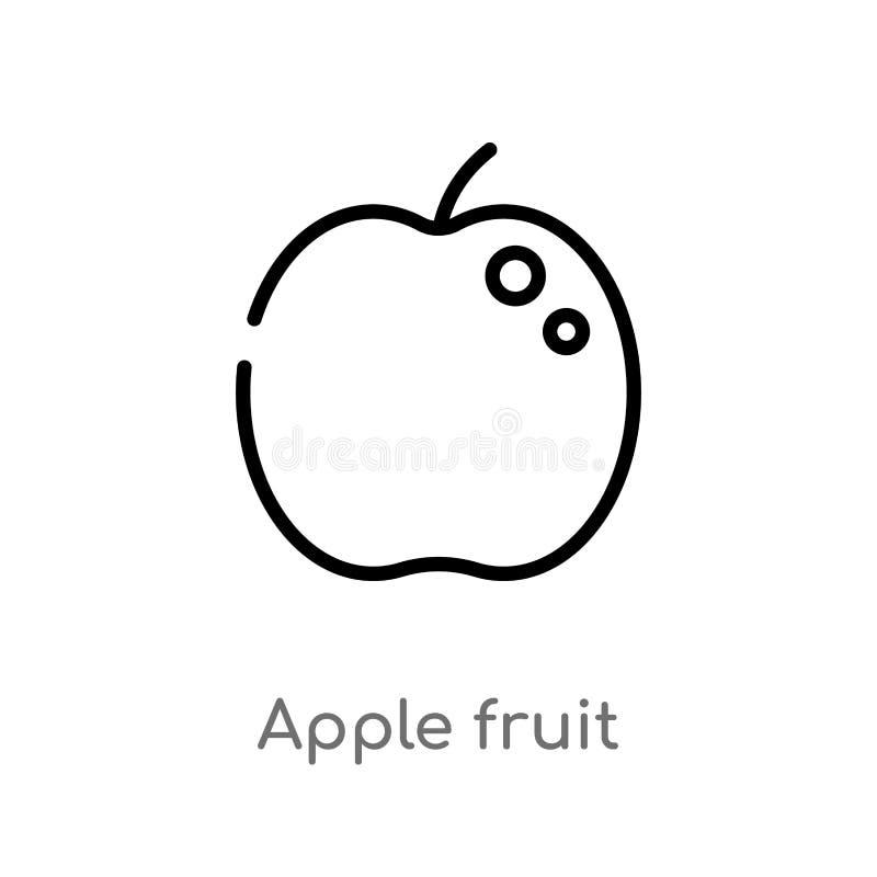 icono del vector de la fruta de la manzana del esquema l?nea simple negra aislada ejemplo del elemento del concepto de la comida  ilustración del vector