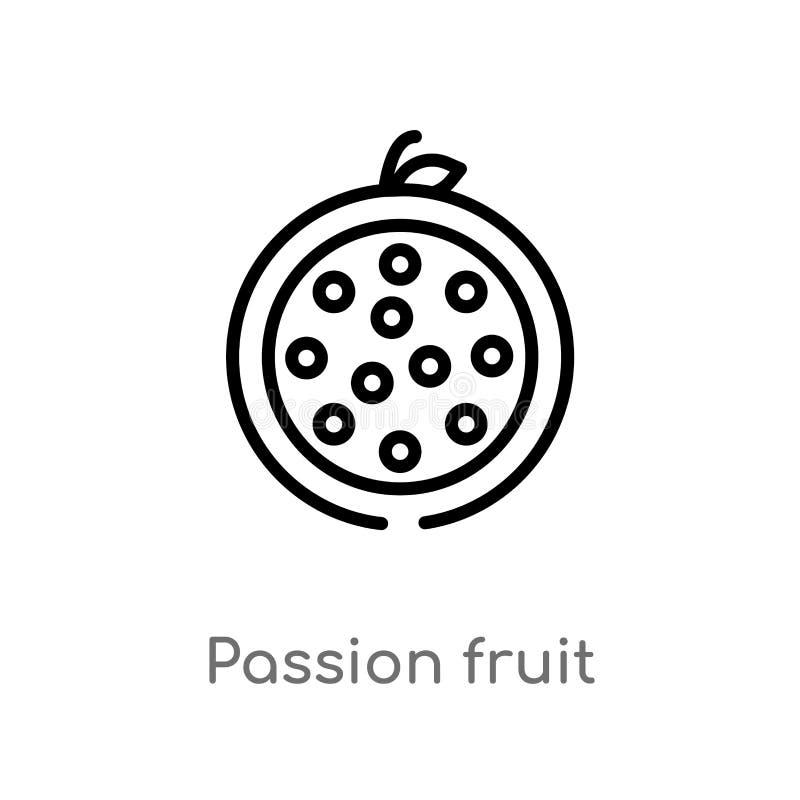 icono del vector de la fruta de la pasi?n del esquema l?nea simple negra aislada ejemplo del elemento del concepto de las frutas  libre illustration