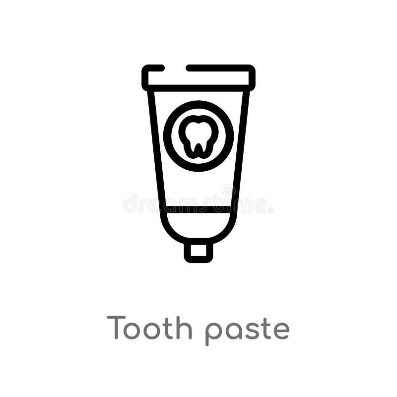 icono del vector de la goma de diente del esquema l?nea simple negra aislada ejemplo del elemento del concepto de la higiene Movi ilustración del vector