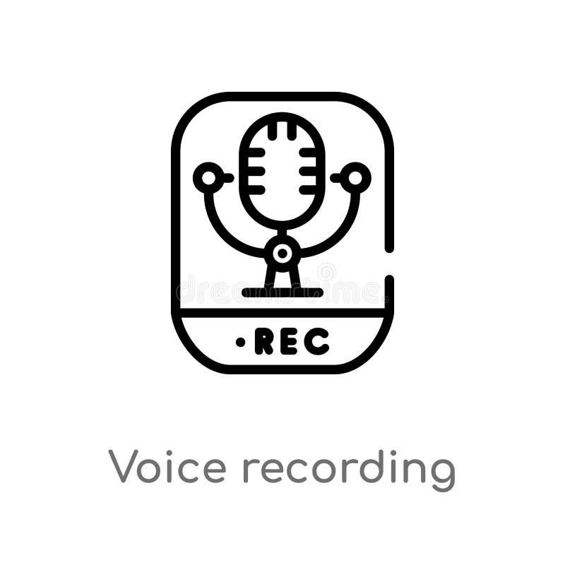 icono del vector de la grabación de la voz del esquema línea simple negra aislada ejemplo del elemento del concepto de la interfa stock de ilustración
