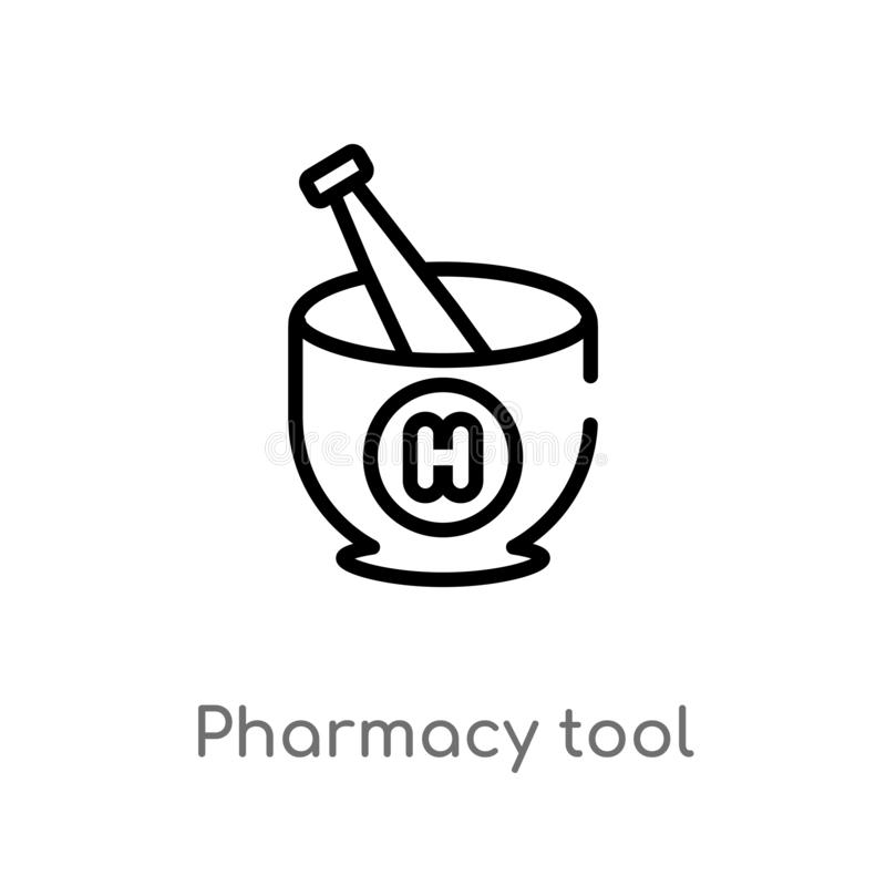 icono del vector de la herramienta de la farmacia del esquema línea simple negra aislada ejemplo del elemento del concepto médico ilustración del vector