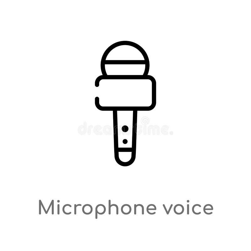 icono del vector de la herramienta de la voz del micr?fono del esquema l?nea simple negra aislada ejemplo del elemento del concep libre illustration