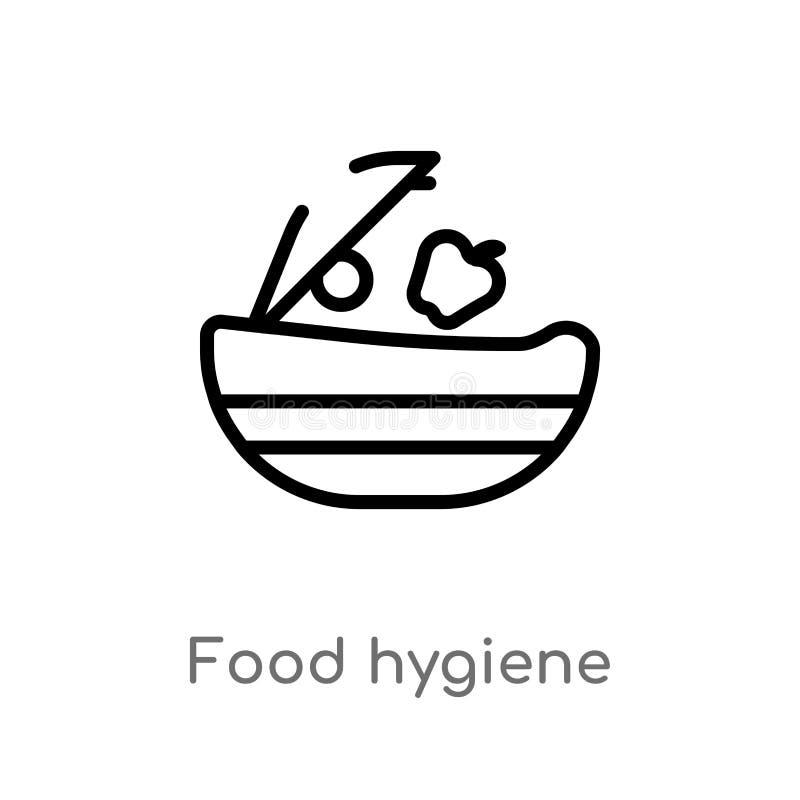 icono del vector de la higiene alimenticia del esquema l?nea simple negra aislada ejemplo del elemento del concepto de la higiene ilustración del vector