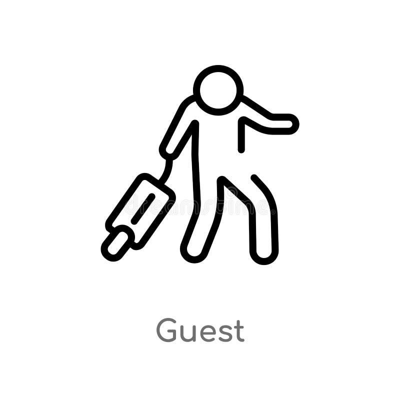 icono del vector de la huésped del esquema línea simple negra aislada ejemplo del elemento del concepto del hotel y del restauran libre illustration
