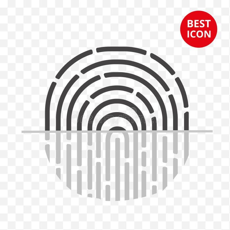 Icono del vector de la huella dactilar Símbolo plano simple de la protección para el smartphone las TIC del negocio del sitio web ilustración del vector