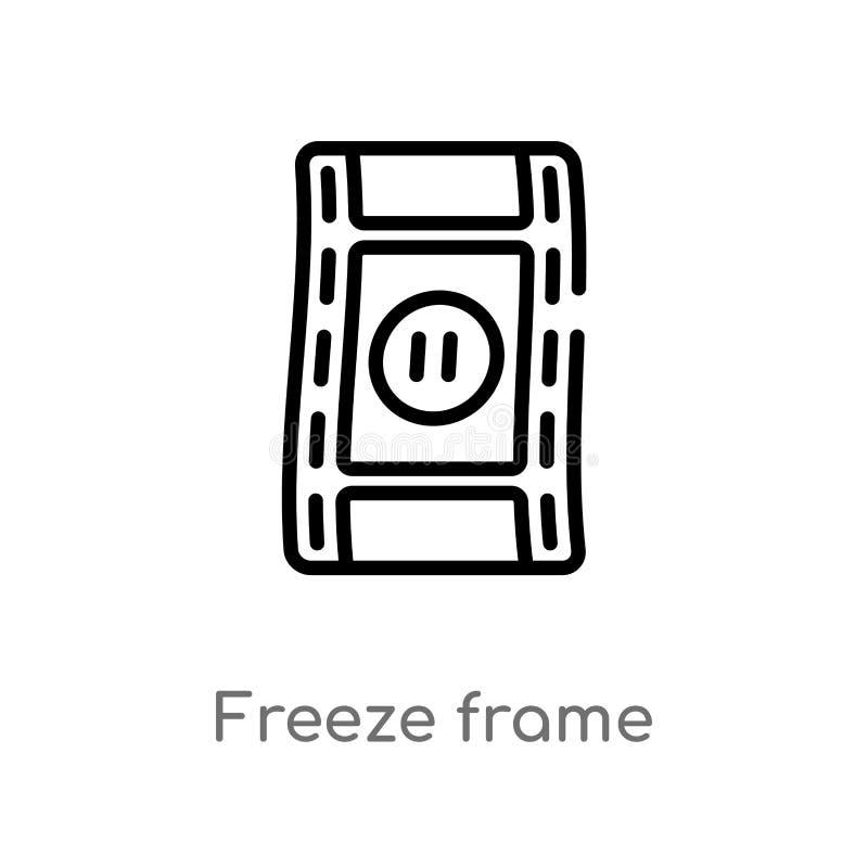 icono del vector de la imagen congelada del esquema l?nea simple negra aislada ejemplo del elemento del concepto del cine Movimie ilustración del vector
