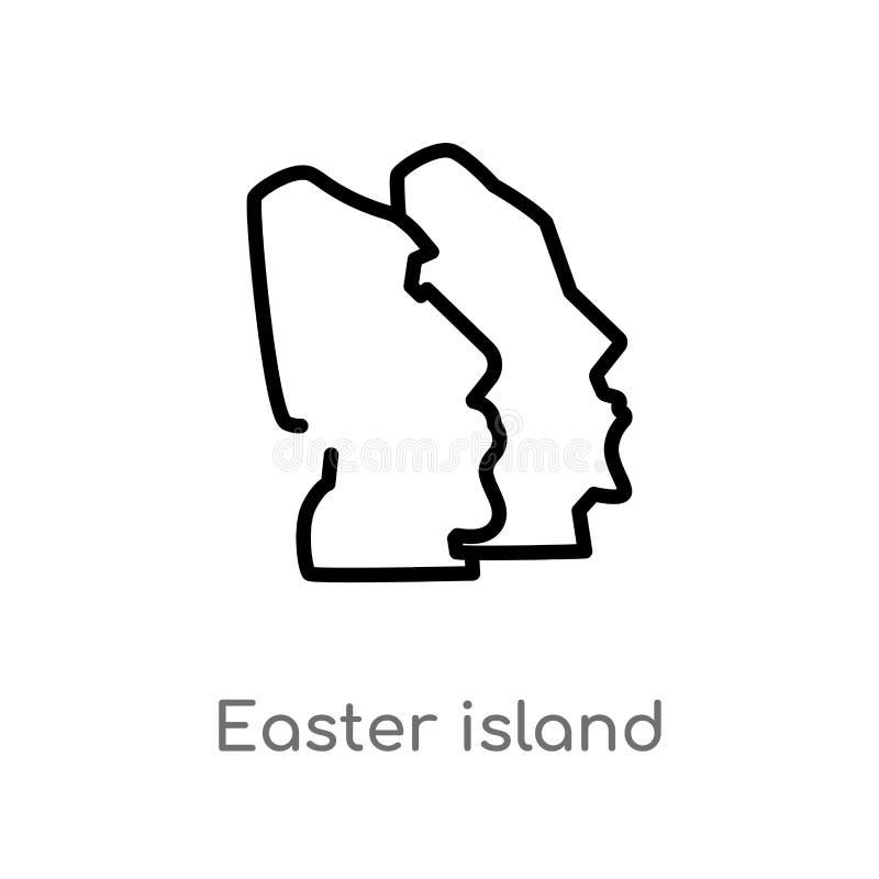 icono del vector de la isla de pascua del esquema l?nea simple negra aislada ejemplo del elemento del concepto de los monumentos  ilustración del vector