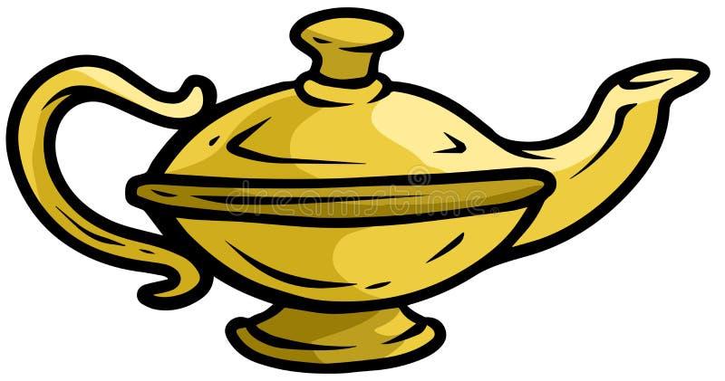 Icono del vector de la lámpara de los genios del oro viejo de la historieta ilustración del vector