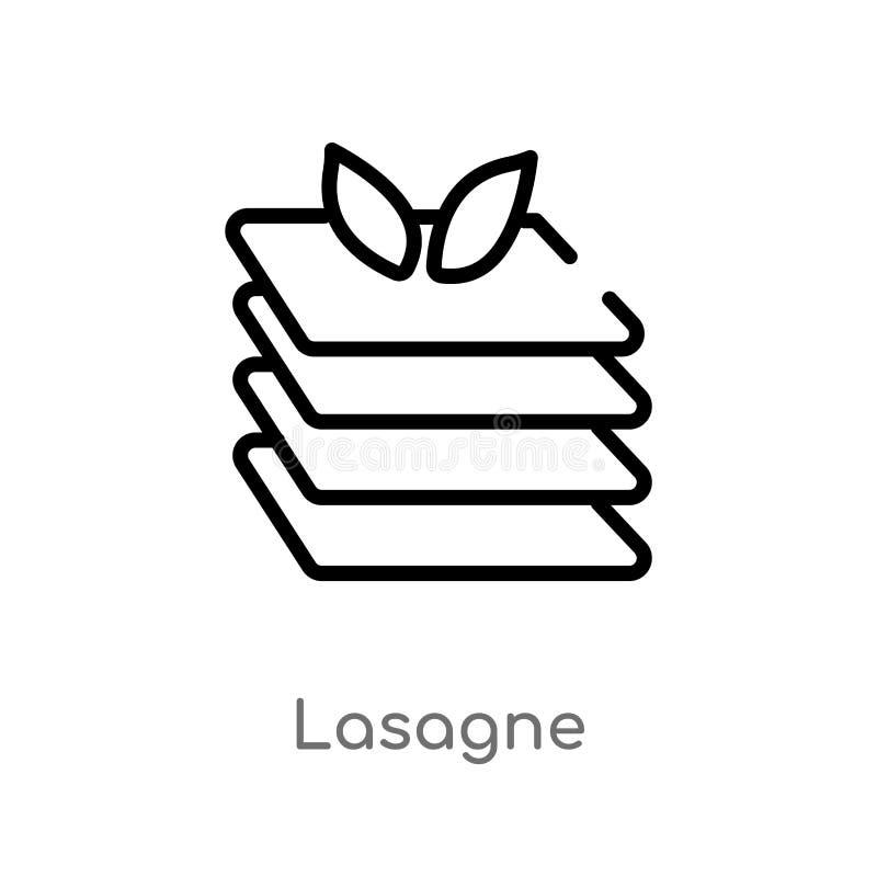 icono del vector de la lasaña del esquema línea simple negra aislada ejemplo del elemento del concepto de la gastronomía Movimien libre illustration