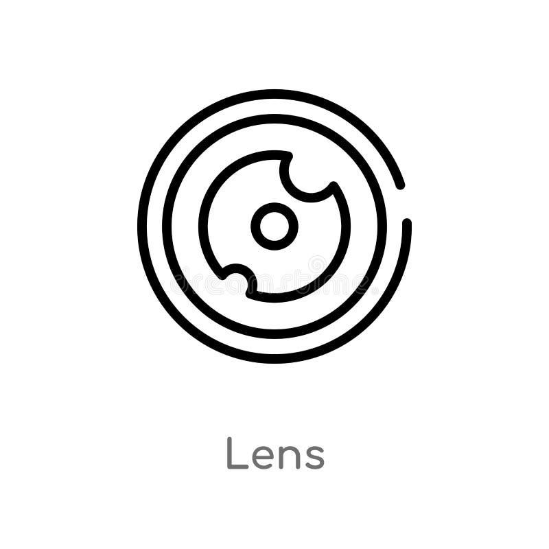 icono del vector de la lente del esquema l?nea simple negra aislada ejemplo del elemento del concepto de la higiene icono editabl ilustración del vector