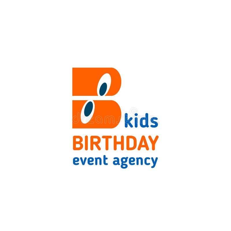 Icono del vector de la letra B de la agencia del acontecimiento del cumpleaños de los niños stock de ilustración