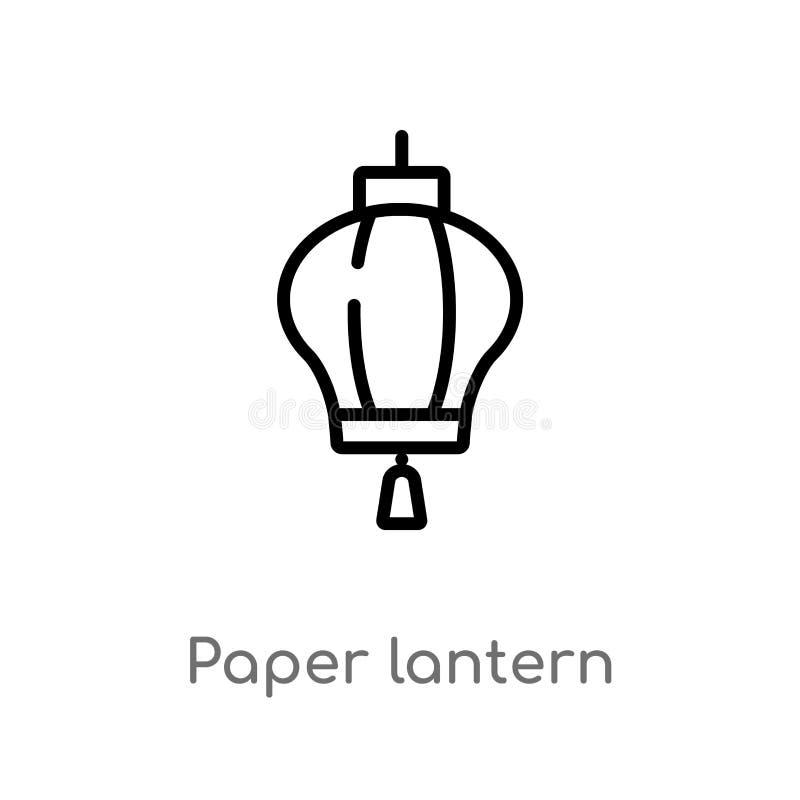 icono del vector de la linterna de papel de esquema línea simple negra aislada ejemplo del elemento del concepto de las culturas  ilustración del vector