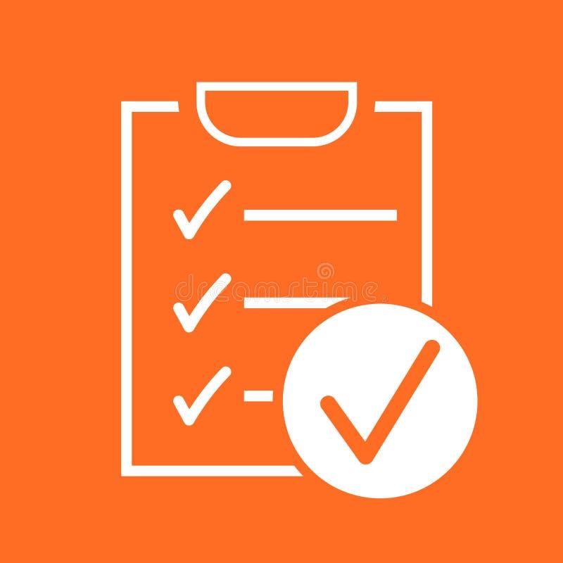 Icono del vector de la lista de control Ejemplo del vector de la encuesta en diseño plano stock de ilustración
